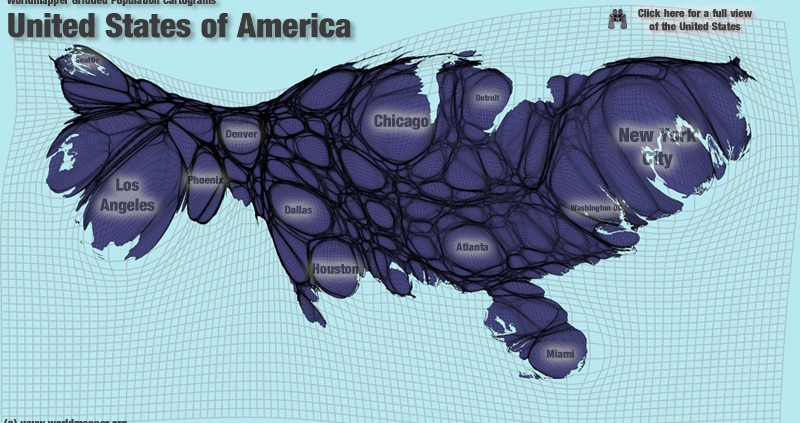 United States Of America population cartogram