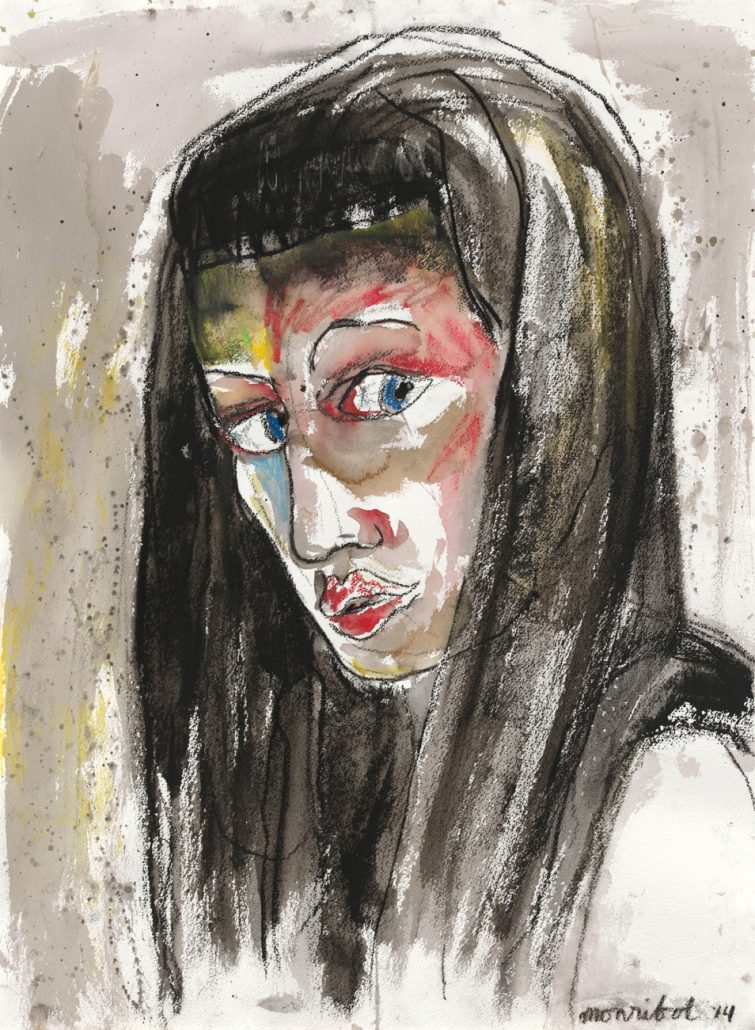 1 Jilian Monribot, Lady K, 2014 Ink, charcoal, wax pastel on paper 22.5 x 30 inches