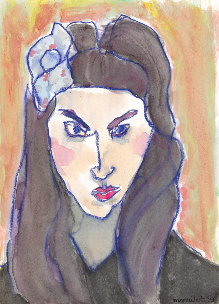 4 Jilian Monribot, Sevillana, 2013 Ink, gouache, wax pastel on paper 8.5 x 12 inches
